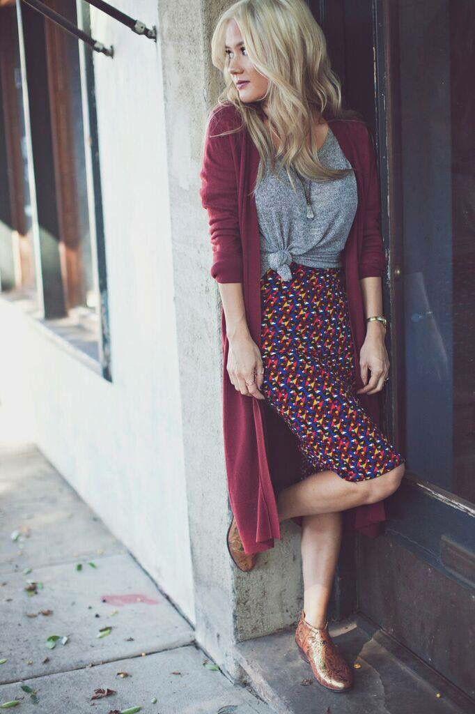 Pencil skirt with long cardigan