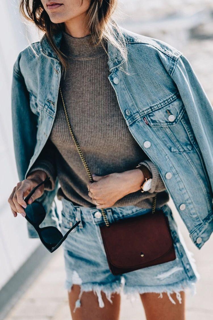 Turquoise clothing lookbook ideas with jean jacket, shorts, jacket