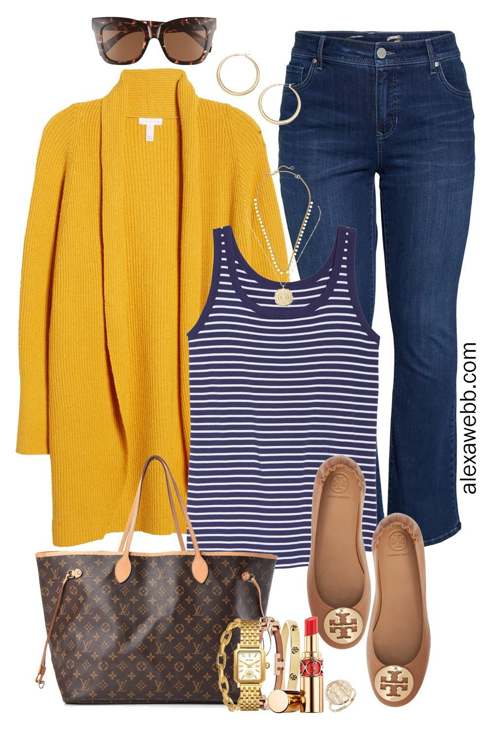 Electric blue and yellow classy outfit with trousers, blazer, denim