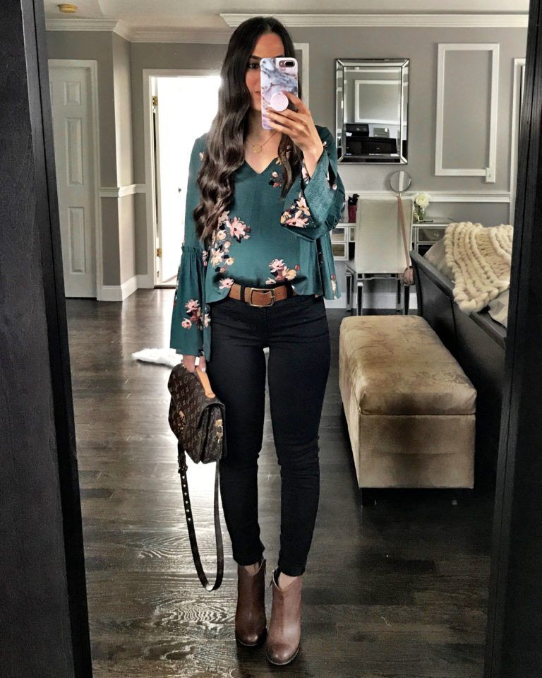 Dressy black jeans outfit, business casual, casual wear, t shirt