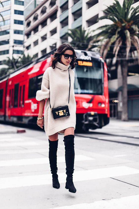 Colour combination with sweater, coat