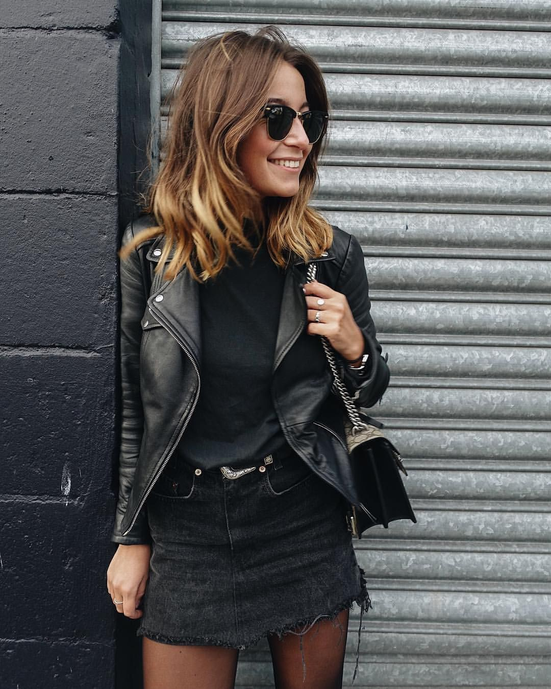 Black denim skirt outfit, leather jacket, street fashion, pencil skirt, casual wear, denim skirt