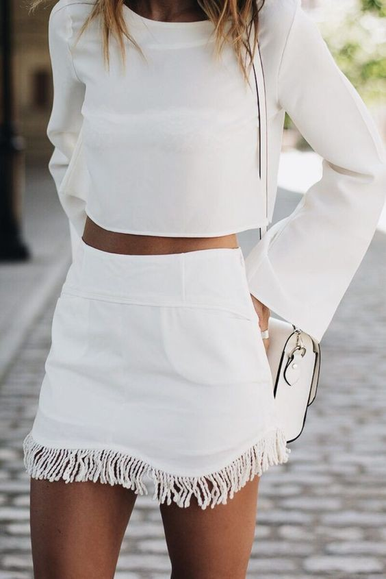 White colour dress with crop top, shorts, skirt