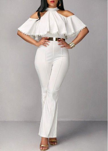 Colour combination rosewe white jumpsuit, jumpsuits & rompers, fashion model, romper suit