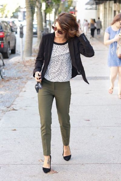 Olive green pants outfit work