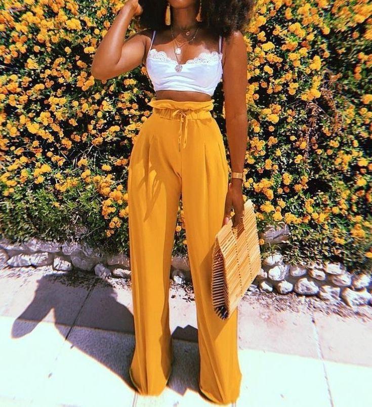 Colour outfit ideas 2020 yellow pants outfit slim fit pants, fashion model