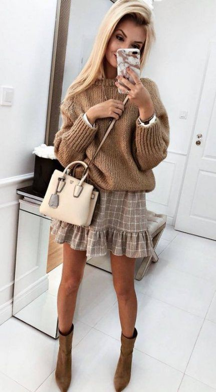 Beige and brown colour combination with dress fashion accessory, blazer, skirt