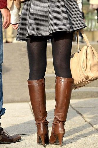 Brown designer outfit with miniskirt, tights