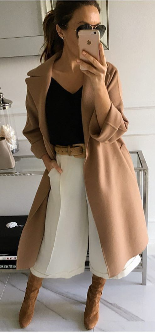 Khaki and beige colour outfit with coat, contemplation, copyright