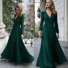 Long sleeve evening dresses chiffon
