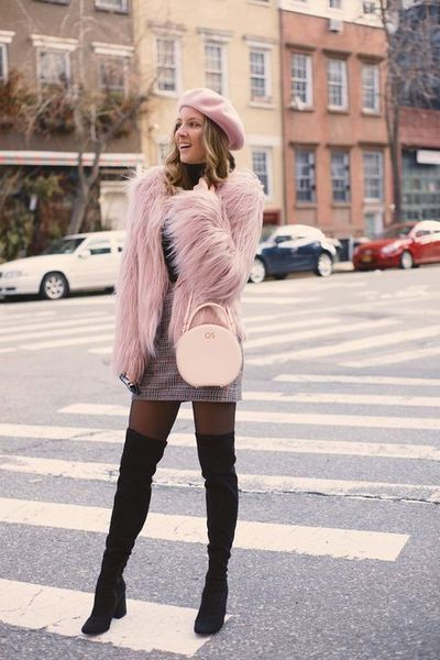 Outfit rosa con gris, street fashion, fur clothing, casual wear, fake fur