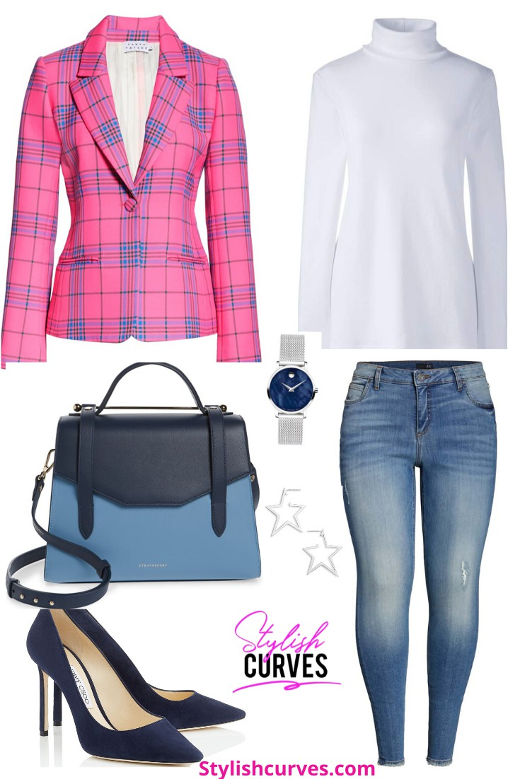 White and pink colour outfit, you must try with uniform, blazer, tartan