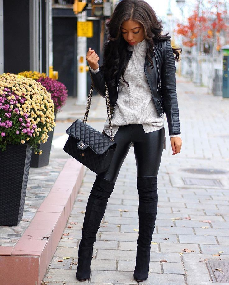 Chanel over the knee boots outfit
