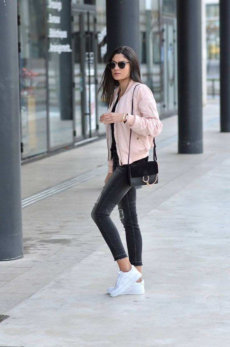 Pink bomber jacket outfit, street fashion, flight jacket, casual wear, t shirt