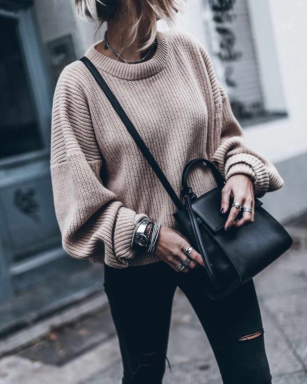 Black trendy clothing ideas with sweater, tights
