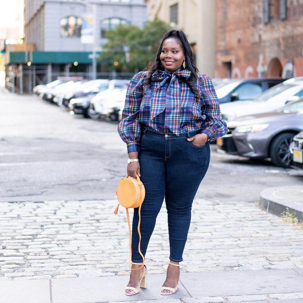 Colour outfit ideas 2020 with blazer, tartan, jeans