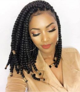 Shoulder length box braids, crochet braids, box braids, black hair, long hair, lace wig, bob cut