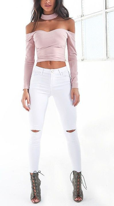 White outfit Pinterest with trousers, crop top, denim