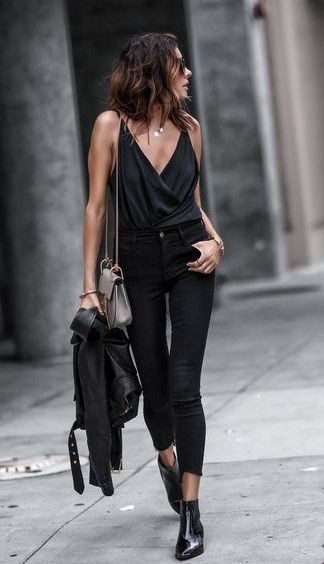 Black style outfit with trousers, jacket, jeans
