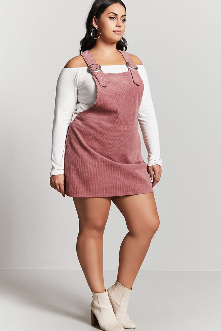 Red overall dress plus size