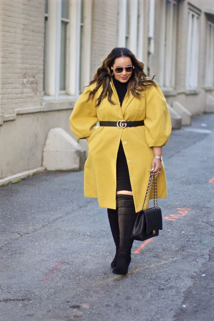 Yellow colour outfit with trench coat, overcoat, coat