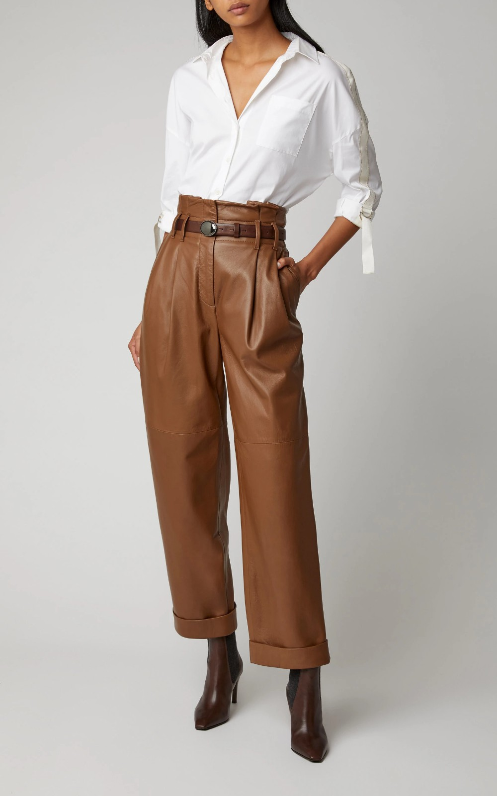 Brown leather pants outfit highwaist