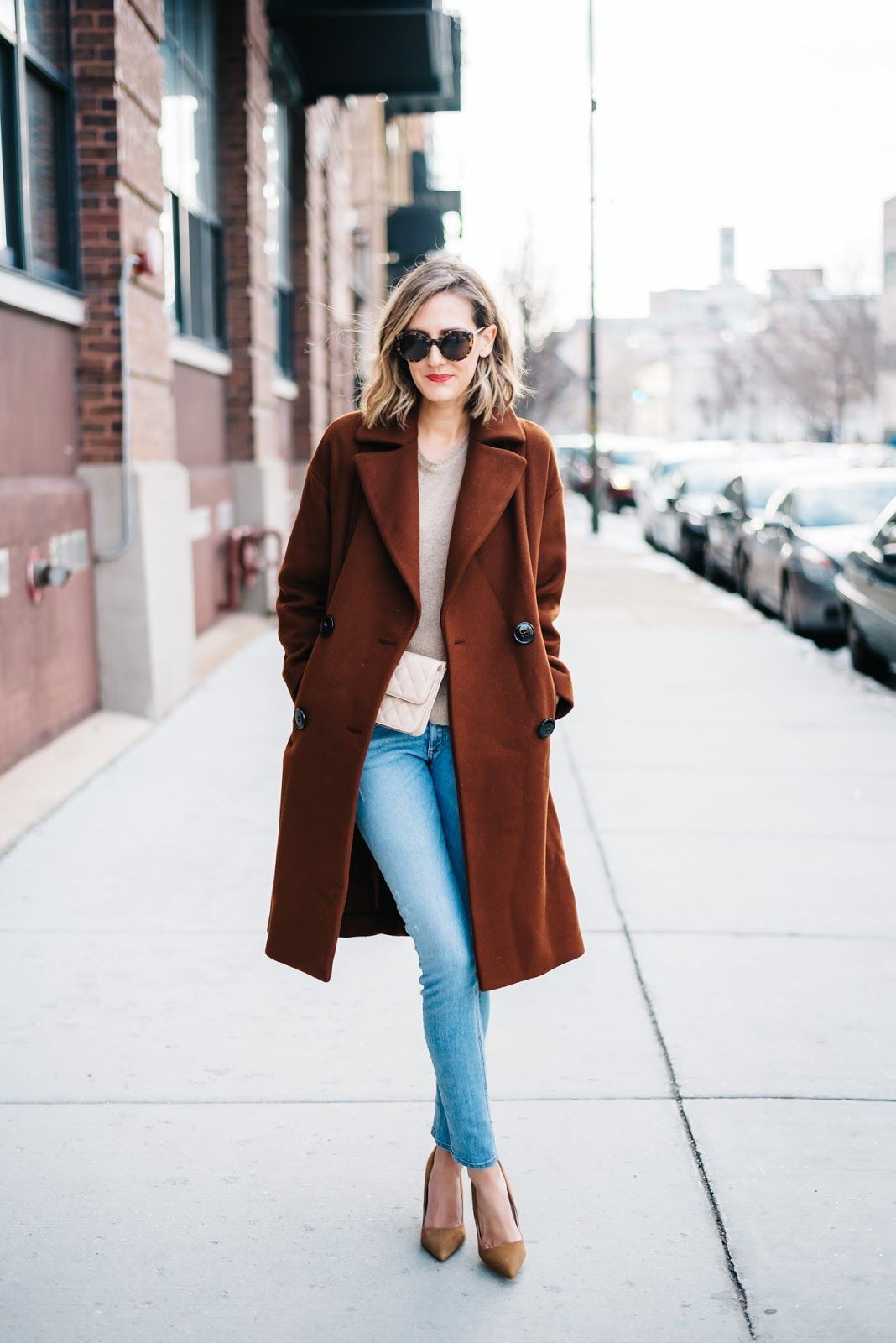 Colour outfit, you must try rust color coat, street fashion, helene berman, trench coat