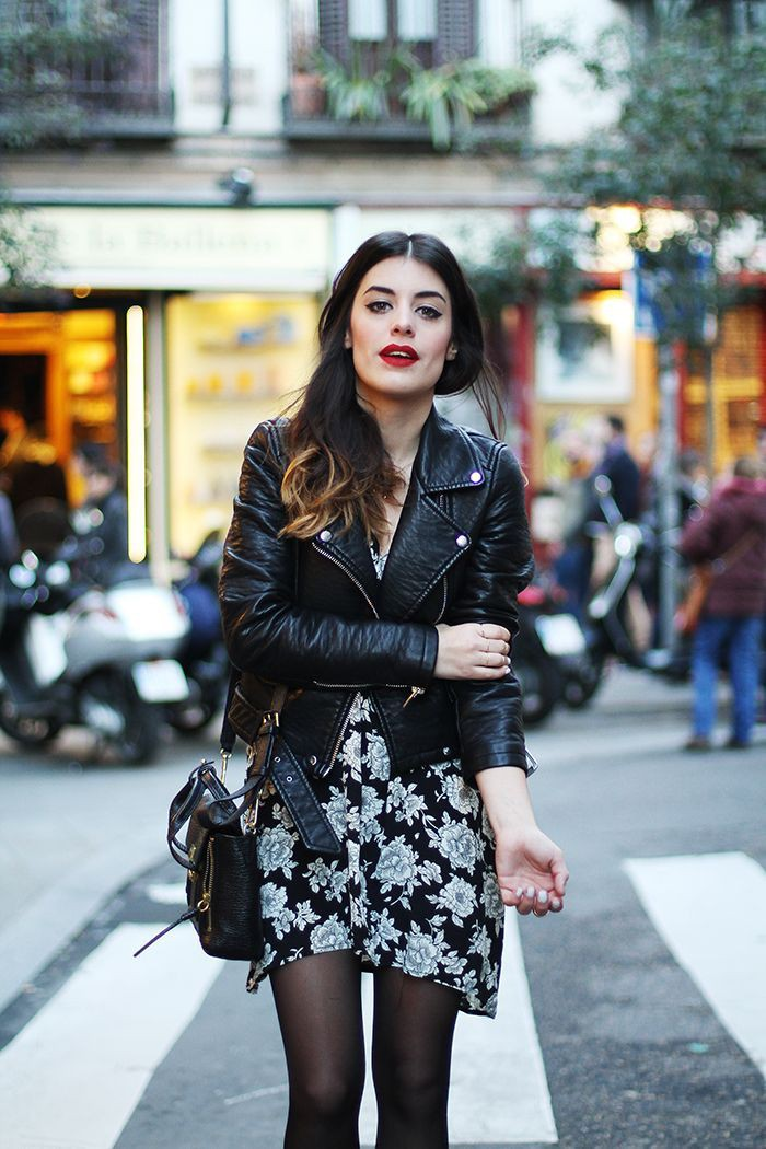 Floral dress with leather jacket