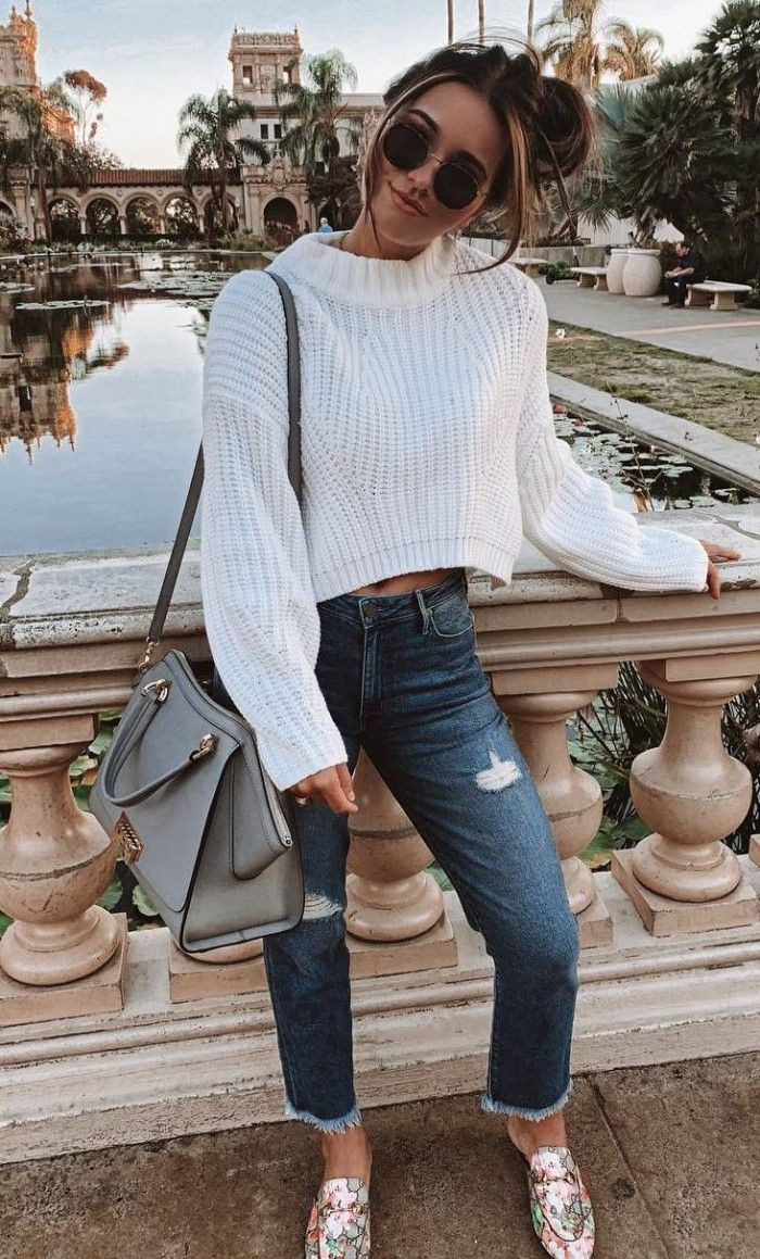 Brown and white clothing ideas with denim, jeans