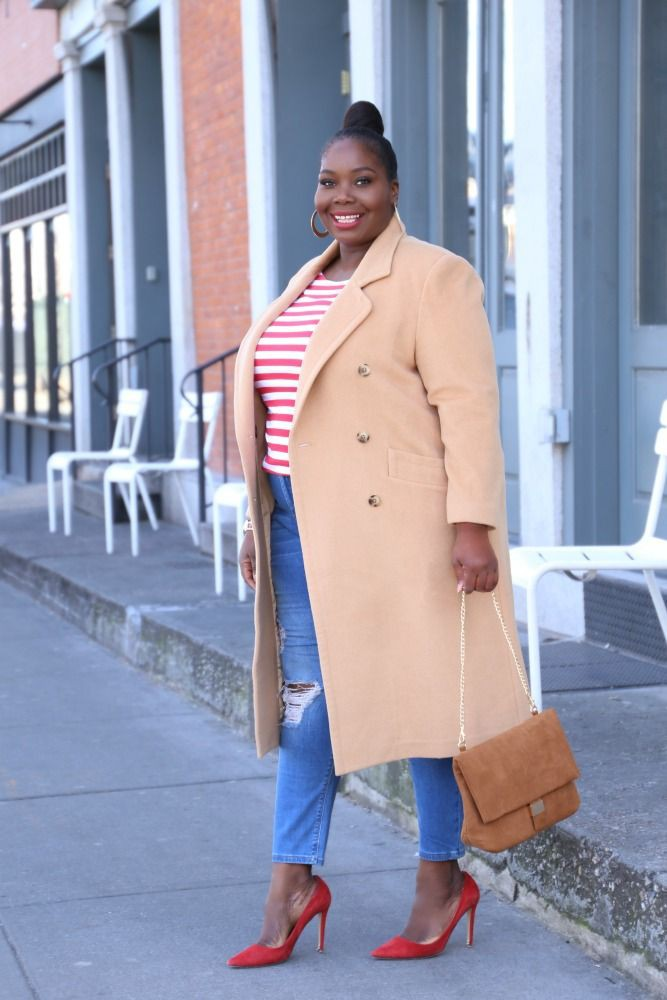 Plus size camel coat plus size model, street fashion