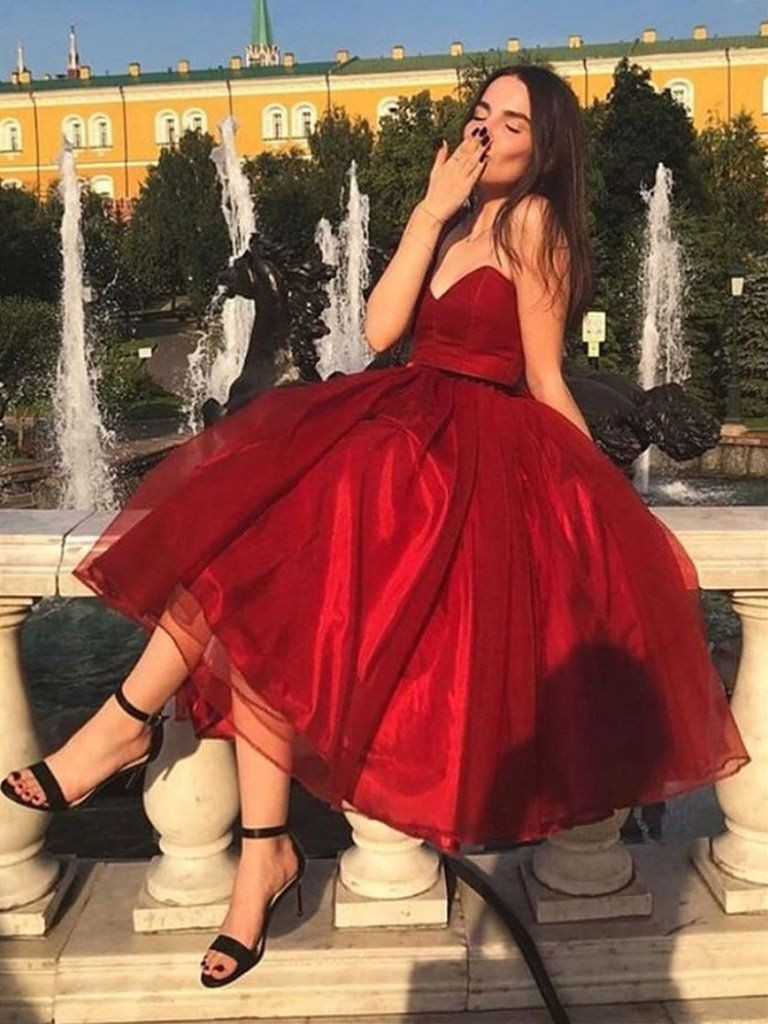 Short tulle dress burgundy, strapless dress, cocktail dress, fashion model, evening gown, ball g ...