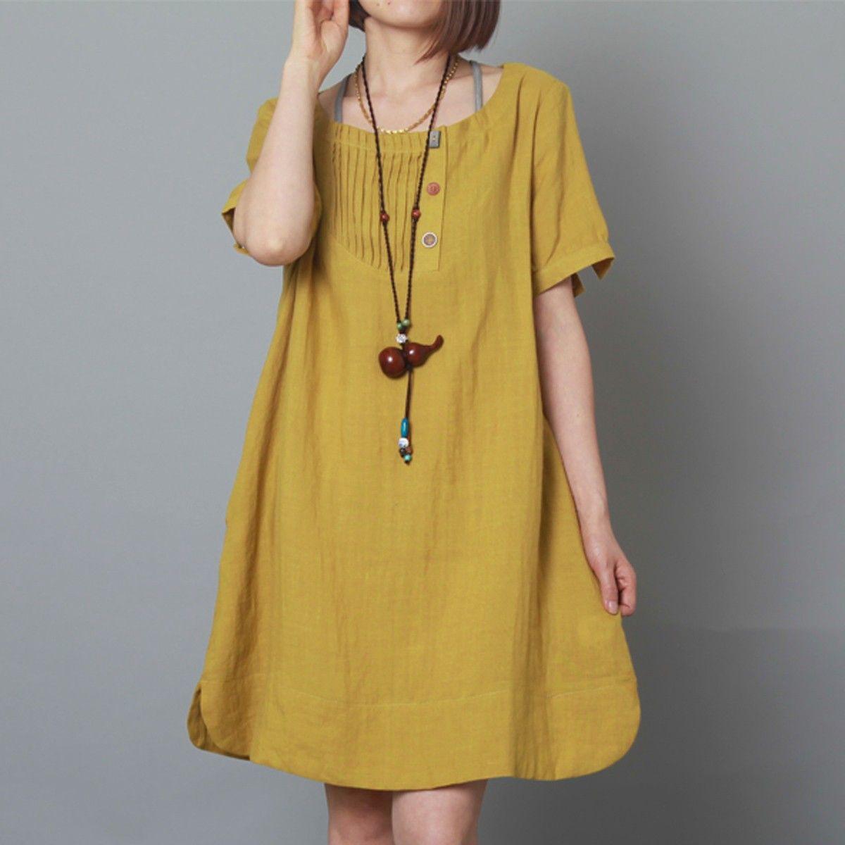 Linen mumu dress plus size