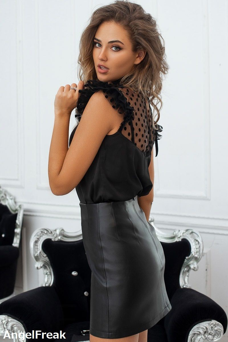 Nude girl leather mini skirt