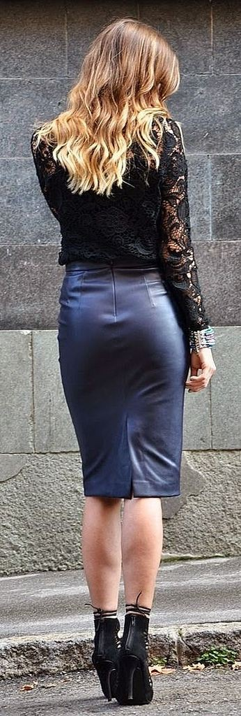 Tight faux leather skirt, leather skirt, pencil skirt