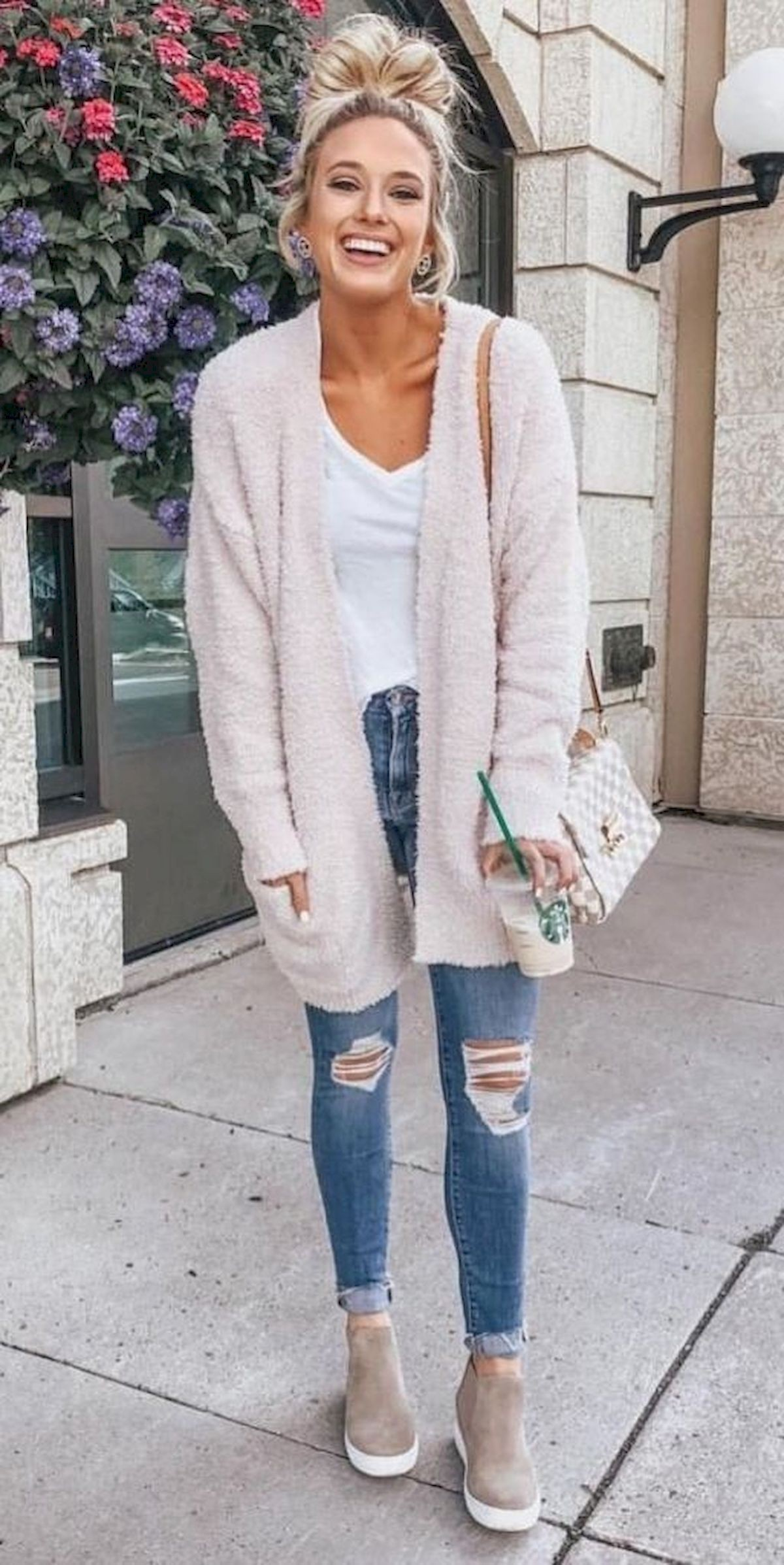 white outfits for women with sweater, jeans, top