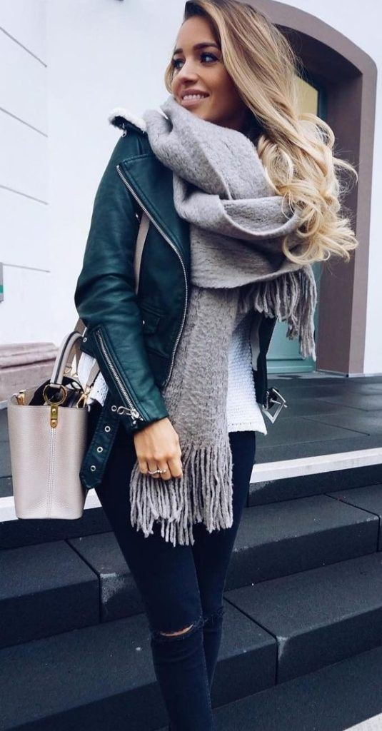 Green leather jacket outfit, winter clothing, leather jacket, street fashion