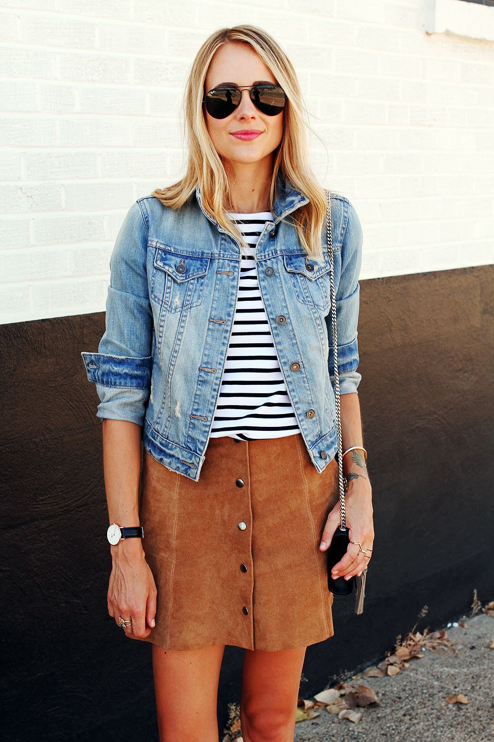 Tan suede skirt outfit, street fashion, jean jacket
