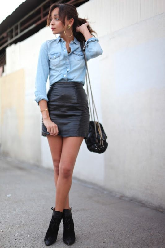 Outfit ideas leather skirt outfit, street fashion, leather skirt, t shirt