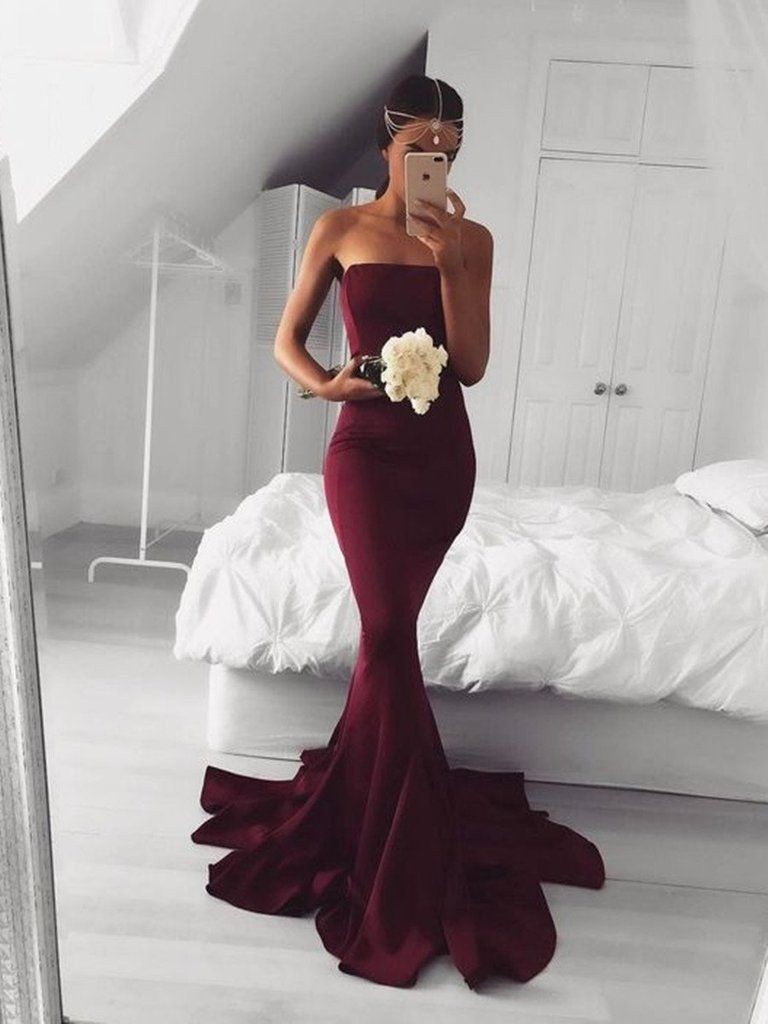 Colour dress mermaid prom dresses bridal party dress, strapless dress