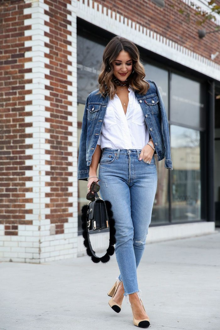 Electric blue and blue colour ideas with jean jacket, jacket, skirt