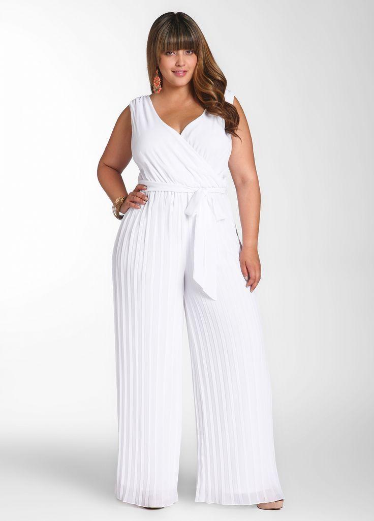 Plus size white jumpsuit wedding