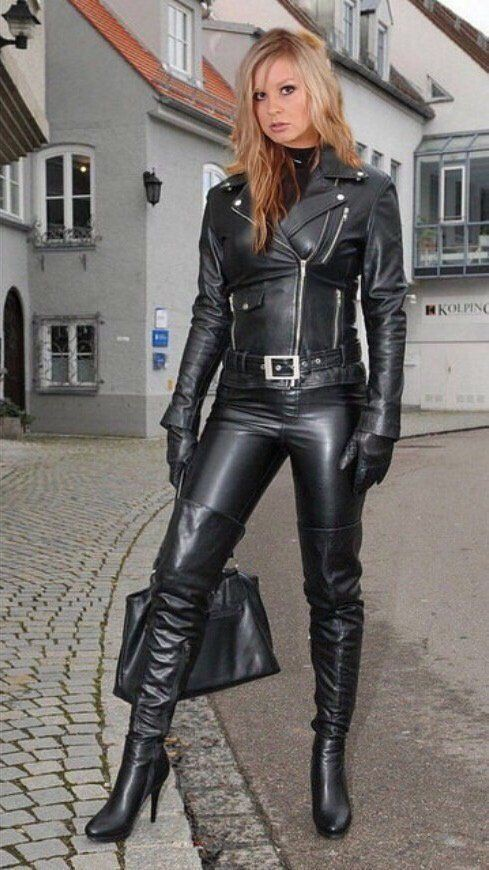 Colour outfit ideas 2020 with leather jacket, latex clothing, trousers