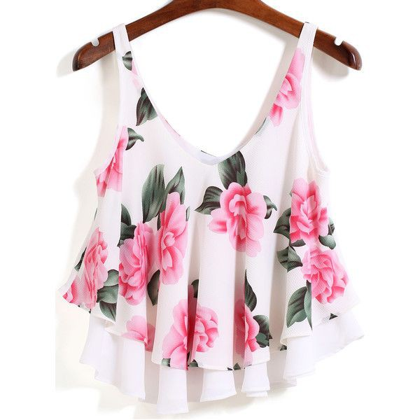 Floral loose crop top, sleeveless shirt, floral design, crop top