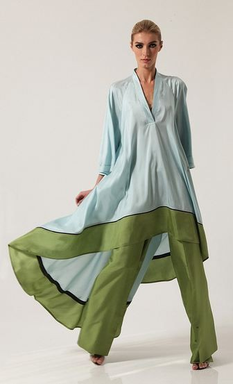 Green outfit style with formal wear, trousers, silk