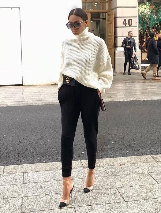 Black and white colour outfit ideas 2020 with trousers, sweater