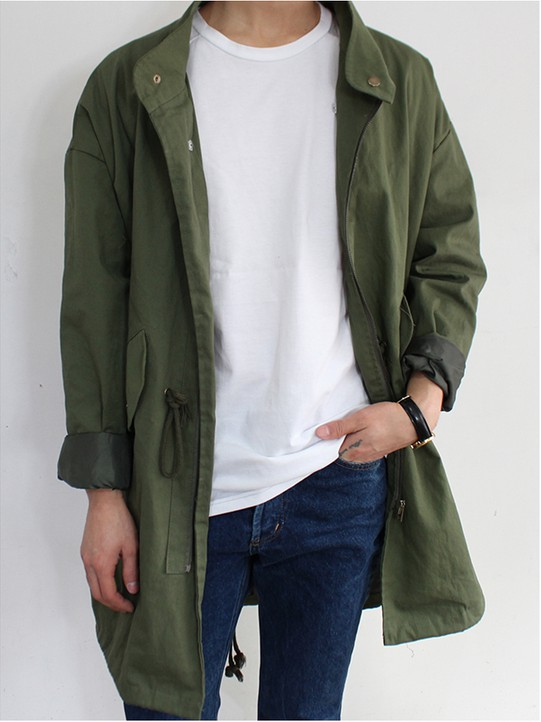 Khaki and green outfit ideas with trench coat, overcoat, jacket