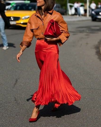 Orange colour outfit with dress, copenhagen fashion week, new york fashion week