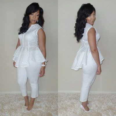 White outfit style with trousers, jeans, top