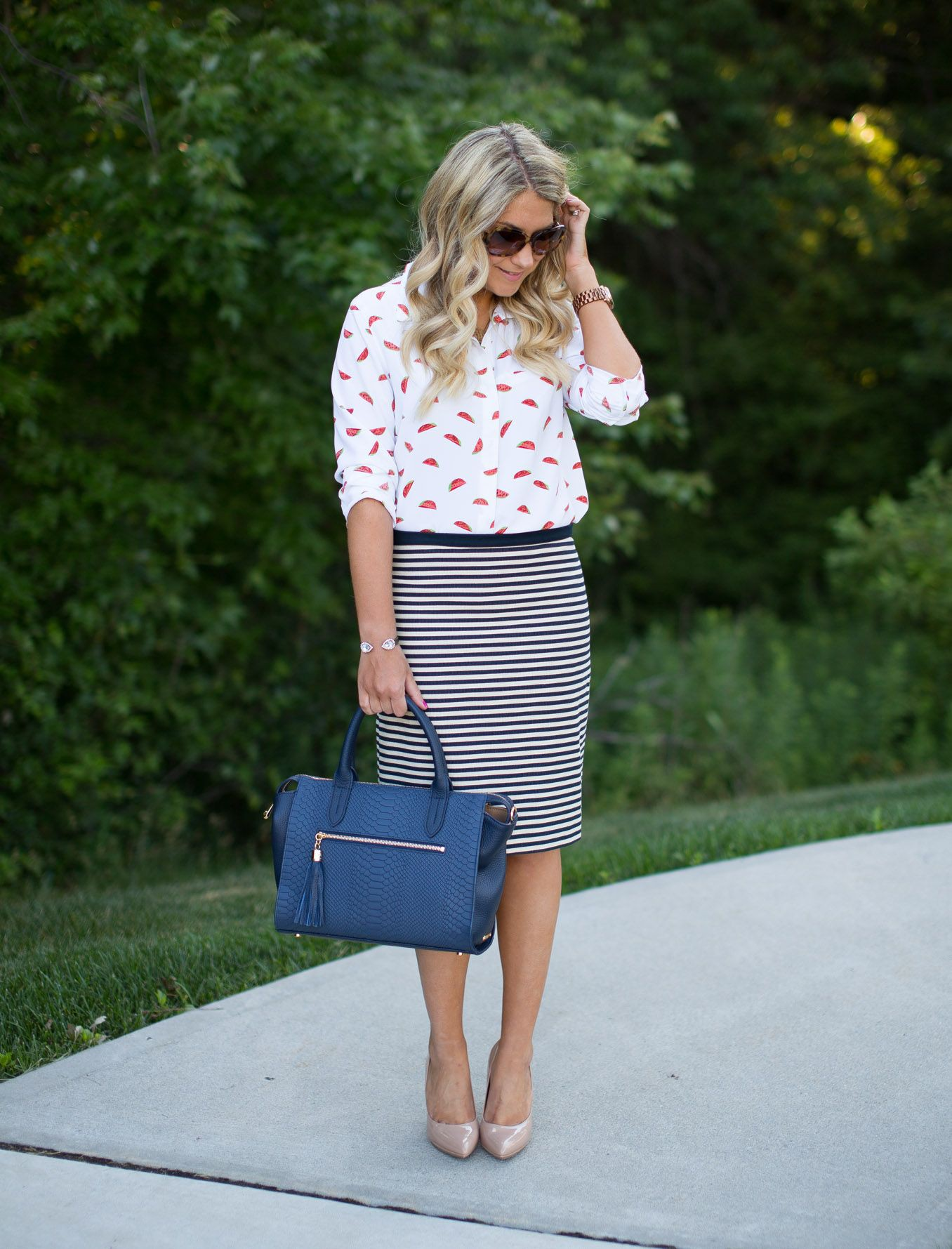 White and pink colour ideas with pencil skirt, polka dot, shorts