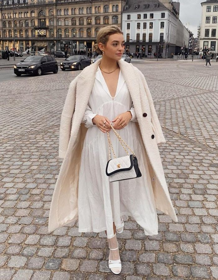 White colour combination with dress handbag, street fashion